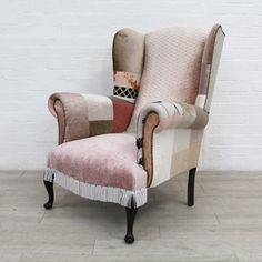 Wingback Armchair Reconstructed & Covered In Blush Pink Fabrics Wingback Armchair, Kingdom Of Great Britain, Pink Fabric, Upcycled Furniture, Household Items, Fabric Design, Blush Pink, Upholstery, New Homes