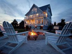 A little beachy in Texas?! add sand around the fire pit with Adirondack chairs! how to contain the sand though....