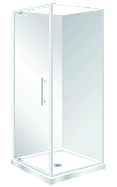 Features Low profile tray with 40mm upstand Tray is Centre Waste as standard but also available in Corner Waste. 1950mm high glass. 6mm safety glass Safety Standard Pivot Door Modern 1-piece design left hand model. One piece acrylic lining.  Available in White and Silva