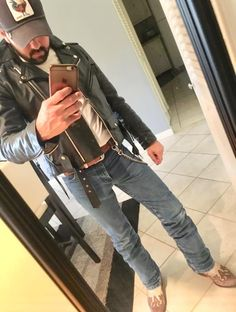 Leather Jackets, Leather Men, Boots And Jeans Men, Urban Male, Hot Cowboys, Jacket Men, Country Boys, Male Fashion, Gorgeous Men
