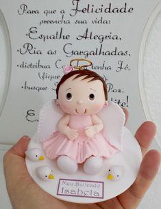 Topo de bolo com menina para ,batizado