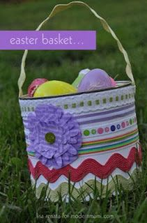 Easter basket upcycled form coffee cans