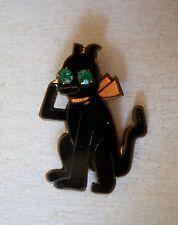Vintage Black Cat Pin Enamel w Green Rhinestone Eyes Halloween Carnival Prize