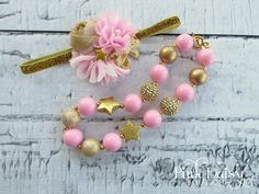 """Headband & Necklace Set. Pink and Gold """"Twinkle Little Star"""" Clustered Flower Headband and Chunky Necklace Set. Birthday Accessories. by ThePinkDaisyBoutique on Etsy https://www.etsy.com/listing/228909194/headband-necklace-set-pink-and-gold"""