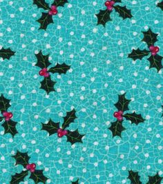 Christmas Cotton Fabric-Holly Crackle Blue