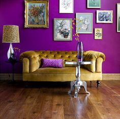 gold couch and purple walls--sounds weird but looks great in the picture!