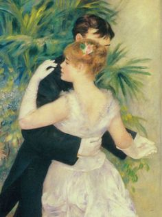 "Dance in the City (1883) by Pierre-Auguste Renoir (1841-1919). A so-called celebrator of beauty and feminine sensuality, Renoir's art pieces centered on ""living in the moment, youthful exuberance and intimate charm"". Most of his portraits depicted and captured ""here and now"" nostalgic moments."