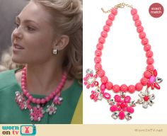 Carrie's pink crystal floral necklace on The Carrie Diaries. Outfit Details: http://wornontv.net/24755 #TheCarrieDiaries #fashion