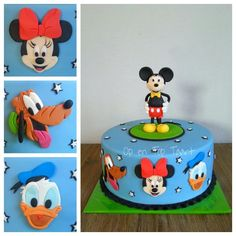 Mickey Mouse & Friends Cake This cake was ordered by a grandfather for his 3 grandchildren which are crazy about Mickey Mouse! Mickey Mouse Torte, Mickey Mouse Clubhouse Cake, Mickey And Minnie Cake, Bolo Mickey, Mickey Mouse Bday, Mickey Cakes, Mickey Mouse And Friends, Mickey Mouse Birthday, Pastel Mickey