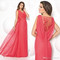 Mathar Son Modest Watermelon Chiffon Formal Dress For Wedding Party Illusion Back Appliques Floor Long Mother Of The Groom Bride Gown Custom Made Mother Of The Groom Suit From Whiteone, $112.42| Dhgate.Com