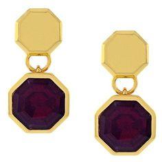 Louise et Cie 'Bleecker Street' Geometric Drop Earrings (€52) ❤ liked on Polyvore featuring jewelry, earrings, 14 karat gold stud earrings, studded jewelry, stud earrings, stud drop earrings and golden earring