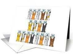 Happy Rosh Hashanah cartoon cats . card