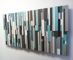 40% OFF! Modern Wood Art - Cottage Chic Wood Strip Artwork 'Cooling Strips' Wooden Wall Art in Turquoise, Brown, Gray, White & Charcoal by ModernCrowd on Etsy https://www.etsy.com/listing/167289811/40-off-modern-wood-art-cottage-chic-wood