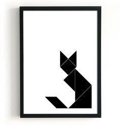 Geometric Cat Print Black cat poster Geometric fox by BlacknBoo