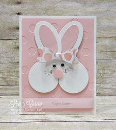 Heart shaped framelits create this adorable bunny perfect for baby showers or Easter. Stampin' Up!'s Sweet & Sassy heart shape framelits.