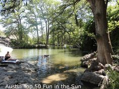 Krause Springs in Spicewood, TX. There are 32 springs on the property, and several feed the man-made pool and the natural pool which flows into Lake Travis.