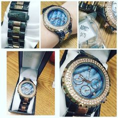 FLASH SALE August Steiner gold and gunmetal watch Gold and gunmetal with crystals and blue backplate. Worn a few times. Slightly scratches on band only as pictured. Original $475. Comes in original box with directions and extra clasps for resizing. August Steiner Accessories Watches