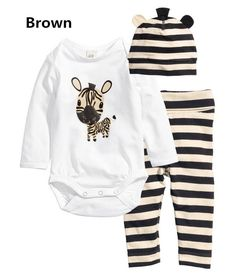 Wish   LUM 3pcs Baby Rompers Long Sleeve Cotton Baby Infant Cartoon Animal Newborn Baby Clothes Romper+hat+pants Clothing Set