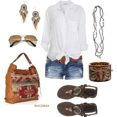 A fashion look from June 2012 featuring Miss Selfridge blouses, YMI Jeans shorts and Ilse Jacobsen Hornbaek sandals. Browse and shop related looks.