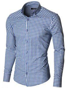 MODERNO Slim Fit Freizeit Kariert Langarm Herrenhemd (MOD1458LS) Blau / Weiß