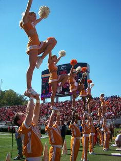 University of Tennessee Cheerleading, cheerleaders cupie football field stunt extension level moved from Kythoni's Cheerleading: Collegiate board http://www.pinterest.com/kythoni/cheerleading-collegiate/ m.19.5 #KyFun