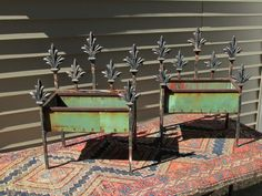 Wonderful!  Antique Garden Planters Iron Copper and Wood