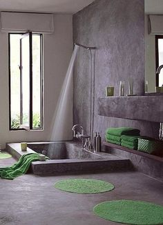 Complete with an in-ground concrete bath, this Italian bath has a cave-like spa feel.