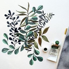 Flora with Mint Leaves // Art by TheMintGardener on Etsy