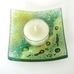 Fused Glass Ring Dish - Green Fused Glass Trinket Dish - Jewellery Dish - Glass…
