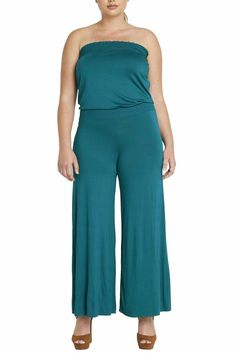 Womens Fashion Strapless Wide Leg Smocked Tube Casual Jumpsuit USA LAG 1XL