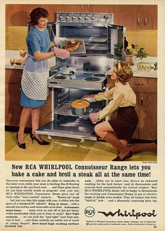 Gee wilikers Betty look at this piece of meat! Wow Mary Jane, look at all this sauce! Retro Ads, Vintage Advertisements, Vintage Ads, Vintage Decor, Vintage Woman, Vintage Kitchen Appliances, Retro Kitchens, Vintage Stoves, Retro Housewife