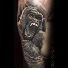 What does gorilla tattoo mean? We have gorilla tattoo ideas, designs, symbolism and we explain the meaning behind the tattoo. Hand Tattoos, Monkey Tattoos, Forearm Tattoos, Body Art Tattoos, Cool Tattoos, Tattoo Sleeve Designs, Sleeve Tattoos, Jungle Tattoo, Gorilla Tattoo