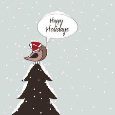 arrière-plan,oiseaux,carte,Noël,Mignon,jours fériés,neige,arbre,vecteur