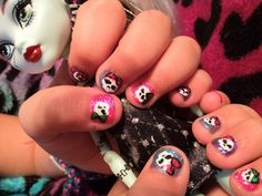 Monster high nails so fun!!!!!