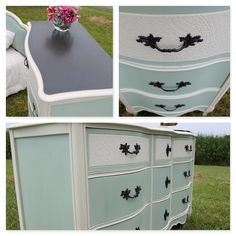 Seven Piece French Provincial Bedroom Set in a custom mint chalk Paint with  twin upholstered headpretty teal dresser french provincial dresser in turquoise  . French Provincial Bedroom Set. Home Design Ideas