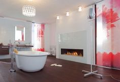 Abstract Red Curtains in Modern Bathroom Fireplace