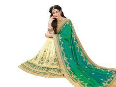 1cca693de8401 Manohari Embroidery Green Art Silk Saree  Amazon.in  Clothing   Accessories