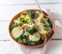 Dank Käse, Gewürz und Schinken wird aus Kartoffeln und Broccoli ein köstlicher Gratin. Etwas Gutes für den schnellen Hunger.