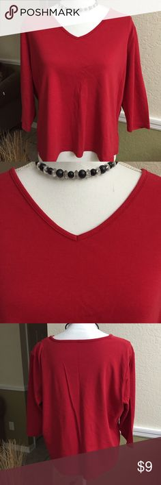 Liz Claiborne Red Top Gorgeous bright red color v neck top with 3/4 sleeves, great with jeans, in excellent condition, 100% cotton. Liz Claiborne Tops Blouses