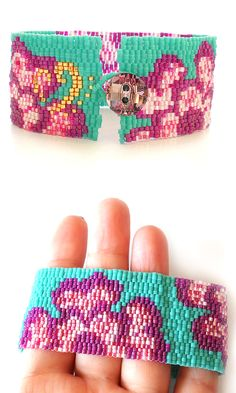 I love this indian flowers bracelet with purple pink and blue beads perfect for a spring fashion outfit