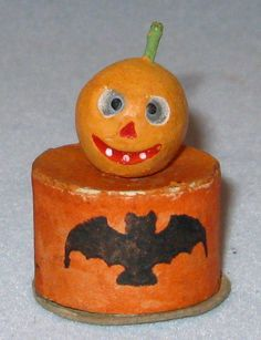 early vtg Halloween JOL Tiny Jack o Lantern Composition Candy Container Japan | eBay