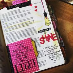 Hosted a small Stampin in Your Bible class today...enjoyed focusing on the Word with the ladies!☺️ Journaled this page in Matt 5...'the only way to get rid of darkness is to add more LIGHT'. We are called to SHINE & that doesn't happen by trying harder but by plugging into the source...connecting and remaining in Him. 💗 #illustratedfaith #journalingbible #grateful #blessed