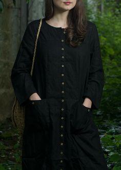 Linen Buttoned Dress / Coat by KnockKnockLinen on Etsy