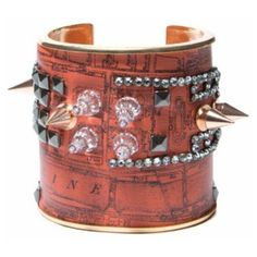 Bijoux De Famille Fashion Tuileries Cuff ($380) ❤ liked on Polyvore featuring jewelry, bracelets, orange, leather jewelry, leather cuff jewelry, leather bangles, studded jewelry and orange jewelry