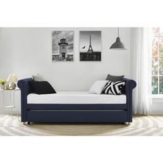 Lawrence Navy Linen Upholstered Daybed and Trundle