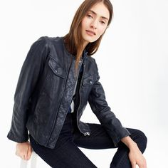 J.Crew Womens Collarless Washed Leather Jacket (Size XL)