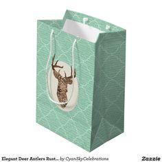 Elegant Deer Antlers Rustic Country Wedding Medium Gift Bag #deer #antlers #rustic #country #wedding #turquoise #woodland #woodsy #natural #nature