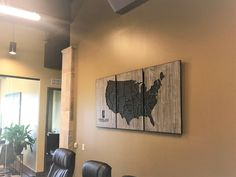 Office Wall Decor Business Decor Office Wall Art Us Map Wooden Map Business Logo United States America Home Wall Decor Unique
