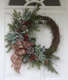 Winter Wreath-Christmas Wreath-Christmas Decor-Holiday Wreath for Door-Frosty Evergreen Wreath-Snowy Wreath-Natural Wreath - New Ideas Front Door Christmas Decorations, Christmas Front Doors, Christmas Door Wreaths, Noel Christmas, Holiday Wreaths, Christmas Crafts, Holiday Decor, Winter Wreaths, Christmas Lights