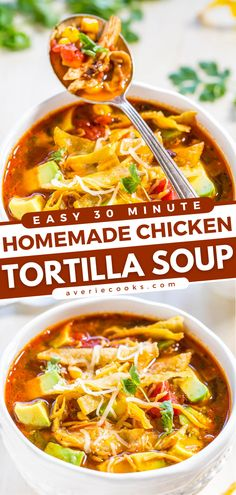 Easy 30-Minute Homemade Chicken Tortilla Soup - Averie Cooks Dinner Recipes Easy Quick, Easy Soup Recipes, Easy Chicken Recipes, Quick Easy Meals, Cooking Recipes, Simple Recipes, Yummy Recipes, Mexican Tortilla Soup, Best Chicken Tortilla Soup